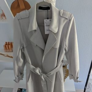 zara faux suede trench